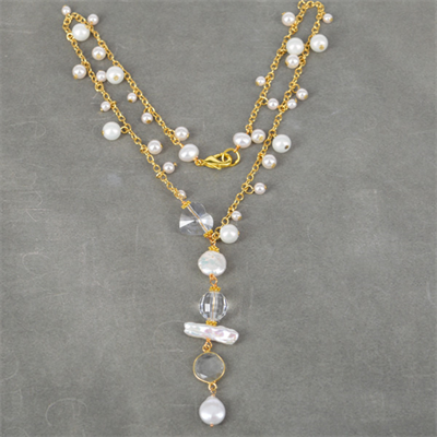 Swarovski, Pearl and Gold plate necklace up to 47cm long