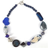 Navy/Blue Agate, jade, glass, kashmiri necklace 53cm long-jewellery-Beadthemup
