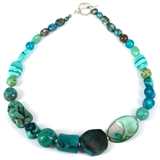 KIT Teal Coral, Agate, MOP, Jasper, Glass Howlite necklace kit up to 49cm long-bead inspired projects-Beadthemup