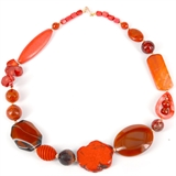 Rose Orange Agate, Tiger Eye, Coral, Howlite necklace 52cm long-jewellery-Beadthemup