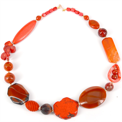 Rose Orange Agate, Tiger Eye, Coral, Howlite necklace 52cm long