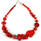 Red Coral, Howlite glass bead necklace 46cm-necklaces-Beadthemup