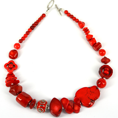 Red Coral, Howlite glass bead necklace 46cm
