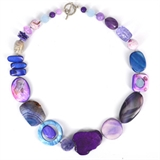 Purple Agate, MOP, Coral, Howlite necklace 56cm-necklaces-Beadthemup