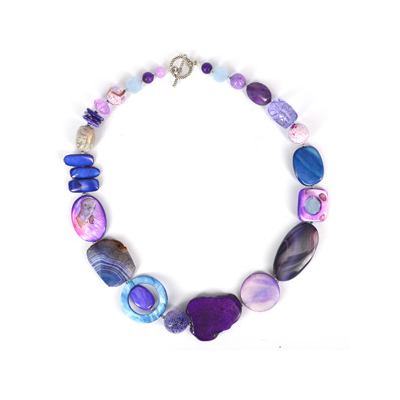 Purple Agate, MOP, Coral, Howlite necklace 56cm