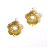 Gold plate Brass Cz Flower connector 17x13mm Pair-findings-Beadthemup