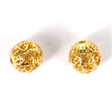14k Gold Filled bead round filligree 10mm 1 pack-14k gold filled-Beadthemup