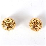 14k Gold Filled bead Rondel filligree 12x11mm 1 pack-14k gold filled-Beadthemup
