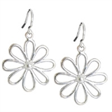 Salera Silver Daisy Earrings-simple sterling silver earrings-Beadthemup
