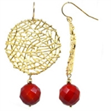 Mia Faceted red Coral Gold Round Wire drop 56mm Earrings-earrings-Beadthemup