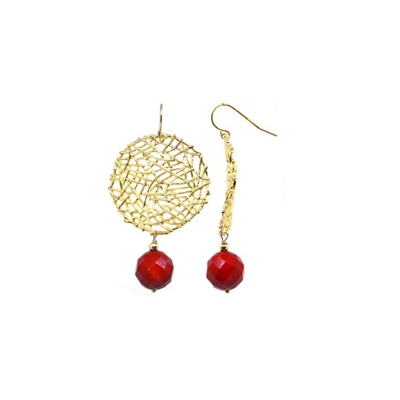 Mia Faceted red Coral Gold Round Wire drop 56mm Earrings