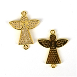 Gold Plate CZ Connecter Angel 24x20mm incl rings-silver, rhodium and gold plate-Beadthemup