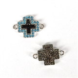 Rhodium Plate CZ Connecter Cross 24x20mm incl rings-silver, rhodium and gold plate-Beadthemup