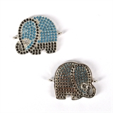 Rhodium Plate CZ Connecter Elephant 22x17mm incl rings-silver, rhodium and gold plate-Beadthemup