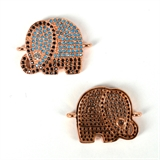 Rose Gold Plate CZ Connecter Elephant 22x17mm incl rings-silver, rhodium and gold plate-Beadthemup