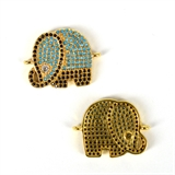 Gold Plate CZ Connecter Elephant 22x17mm incl rings-silver, rhodium and gold plate-Beadthemup