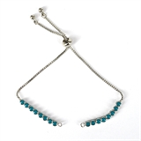 Rhodium plate Blue Tennis adjustable Bracelet-silver, rhodium and gold plate-Beadthemup