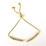 Gold plate CZ Tennis adjustable Bracelet-silver, rhodium and gold plate-Beadthemup