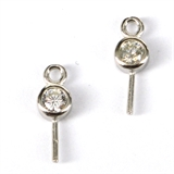 Sterling Silver RH 3mm CZ Pearl pin 11mm pair-925 sterling silver-Beadthemup