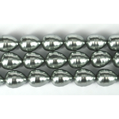 Shell Based Pearl Silver Teardrop 15x12mm Per Pair