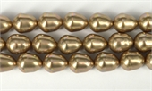 Shell Based Pearl Beige Teardrop 15x12mm Str 27 beads-shell based pearls-Beadthemup