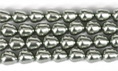 Shell Based Pearl Silver Teardrop 12x10mm Str 32 beads-shell based pearls-Beadthemup