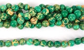 Imperial Jasper Dyed Teal pol.Round 10mm 40 beads-jasper-Beadthemup