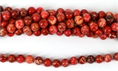 Imperial Jasper Dyed Red pol.Round 10mm 40 beads-jasper-Beadthemup