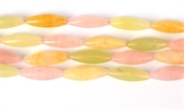 Rose, New Jade, Calcite 6 Side Olive 30x9mm str 14 beads-rose quartz-Beadthemup