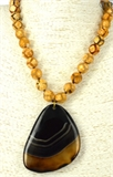 Agate dyed necklace with natural banded agate drop 44-53cm long-necklaces-Beadthemup