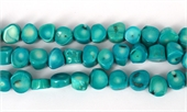 Coral Teal Stick side drill 12x12mm str 34 beads-gemstone beads-Beadthemup