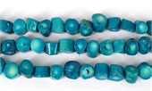 Coral Teal Dark Stick side drill 12x12mm str 34 beads-gemstone beads-Beadthemup