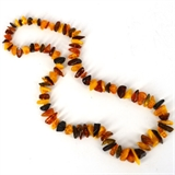 Amber Nugget knotted necklace-no clasp 59cm long-beads incl pearls-Beadthemup