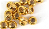 Gold plate brass CZ Stopper rondel bead 5x3mm Each-silver, rhodium and gold plate-Beadthemup