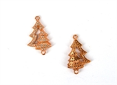 Rose Gold plate CZ Connecter Christmas Tree 24x15mm incl rings-findings-Beadthemup