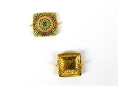 Gold plate CZ Connecter Square 17x25mm incl rings-findings-Beadthemup
