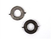 Black Rhodium Plate CZ Connecter Donut 28x22mm incl rings-findings-Beadthemup