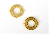 Gold Plate CZ Connecter Donut 28x22mm incl rings-findings-Beadthemup
