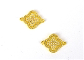 Gold plate CZ Connecter Flower 20x15mm incl rings-silver, rhodium and gold plate-Beadthemup