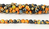 Agate Dyed Orange Fac.Round 10mm str 38 beads-agate-Beadthemup