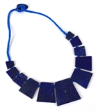 Lapis Trapizoid Necklace center stone 41x44mm 50cm long-beads incl pearls-Beadthemup