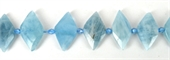 Aquamarine Fac.Diamond 25x14mm EACH BEAD-gemstone beads-Beadthemup