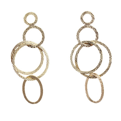 Gold plate Brass Silver post Earring 75mm pair