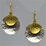 Matt Gold & Silver Disc Earrings 35mm drop-earrings-Beadthemup