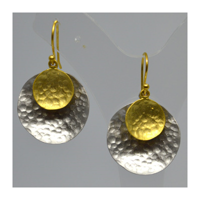 Matt Gold & Silver Disc Earrings 35mm drop