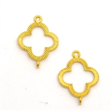 Gold plate Connecter 17x21mm 4 leaf clover 2 pack-findings-Beadthemup
