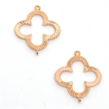Rose Gold Sterling silver Connecter 17x21mm 4 leaf clover 2 pack-components including jumplocks-Beadthemup