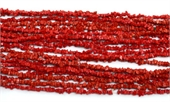 Coral Red Recon.90cm Chip stand-gemstone beads-Beadthemup