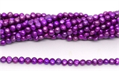 Fresh Water Pearl potato side drill 6x5mm Purple strand 69 beads-5 strands or more for $4.00 per strand-Beadthemup
