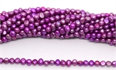 Fresh Water Pearl potato side drill 6x5.5mm Purple strand 72 beads-5 strands or more for $4.00 per strand-Beadthemup